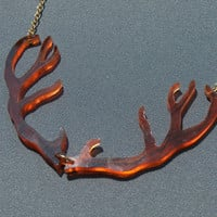 Tortoise Shell Antler Necklace - Hand Cut