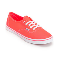 Vans Girls Authentic Lo Pro Neon Coral Shoe