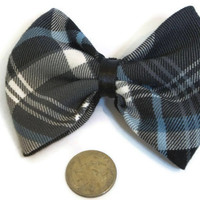 Charcoal and Gray Plaid Bow, Plaid Hair bow, Plaid Fabric, Upcycled Fabric, new year accessories, plaid fashion