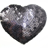 1 PCS Gun Metal Tone Sequin Heart shaped Sew On Glue On Applique for Crafts and Embellishments