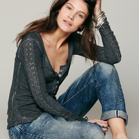 Free People Shell Stitch Lace Henley