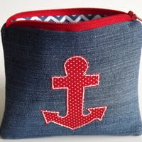 Zippered Anchor Denim Coin Purse