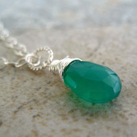 Green Pendant Necklace Wire Wrapped Sterling Silver Jewelry