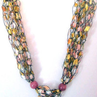 ON SALE Boho Necklace Crocheted Necklace for Summer Multi Colored Necklace Trellis Yarn Casual Necklace