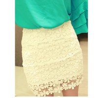 amazinglife  Retro Flower High Waisted Lace Skirt Short skirts