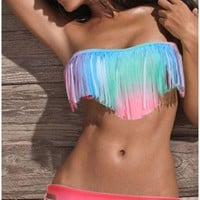 Sexy Tassel Gradient Padded Bandeau Fringe Bikini