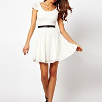 Rare Lace Skater Dress With Belt at asos.com
