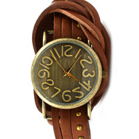 Emily Antique Style Wrap Around Leather Watch
