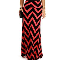 Coral/Black Chevron Print Maxi Skirt