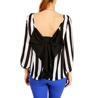 Black/White Vertical Stripes Bow Back Top