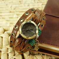 Handmade Leather Strap Double Wrap Bracelet Watch with a Riding Boot Pendant