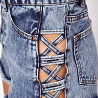 ASOS High Waist Denim Shorts in Acid Wash with Side Lattice Detail at asos.com
