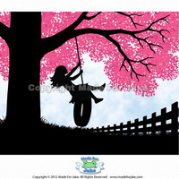 Tire Swing Silhouette print 5x7 with FREE SHIPPING by Madeforjake