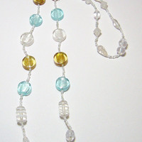 Silver, Gold, and Blue Glass Bead Necklace