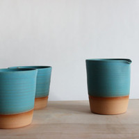 Made to order - Turquoise cup and pitcher tea set, creamer and two aqua tumblers, clean lines