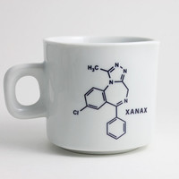 Xanax Molecule Chemistry Coffee Cup in Black and White