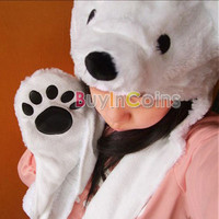 New Polar Bear Mascot Fancy Costume Mask Hat Cap Gloves