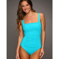 Calvin Klein Pleated Front One-Piece Swimsuit