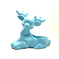 reindeer planter, ceramic planters, animal decor, turquoise, upcycled home decor, vintage planters, vase, kitsch, woodland