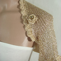 Knitted, Crochetted Short Sleeve Wedding Gold Shrug Bolero by Arzu's Style