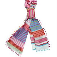 Tantra Striped &amp; Fringed Scarf - Spanish Summer Accessories by Tantra - Modnique.com