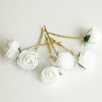 Bridal Hair Accessories, White Rose, White flower Hair Bobby Pin, Brass Bobby pin- set 6