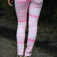 Tribal Tribal Tribal Jeans: Pink/White | Hope&#x27;s