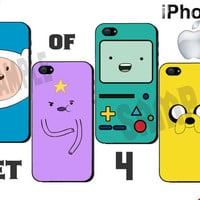 iPhone Case - Adventure Time 4 Case Set - iPhone 4 Case or iPhone 5 Case - Hard Plastic iPhone Case