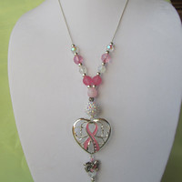Pink Ribbon Necklace Breast Cancer Awareness Pink Beaded Heart Pendant Necklace