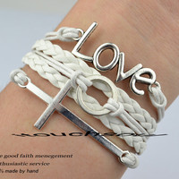 Silvery Love Bracelet Cross Bracelet Infinity Magic ring Bracelet Wish Bracelet Bangle Cuff Bracelet Gift