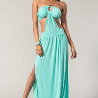 Sexy Halter Dress With A Slit Open Leg  Tanny&#x27;s Couture LLC