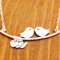Mother Necklace - mom of triplets, silver baby, mom necklace, baby bird necklace, baby shower jewelry
