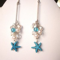 Turquoise Pearl Starfish Dangle Earrings and Hair Pin