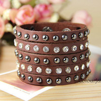 Spring gift, Five-layer, Metal Rivet, Rhinestone Crystal, Punk Rock, Natural Brown Leather Cuff, Metal Buckle, Wrap Bracelet T-2
