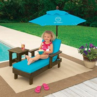 One Step Ahead Sun Smarties Outdoor Chaise With Umbrella And Table Turquoise