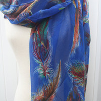 Blue Wraps Shawls Feathers Print Scarf FREE SHIPPING Multicolored  Scarf Spring Scarf - by PIYOYO