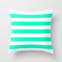 Mint White Stripes Throw Pillow by M Studio