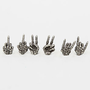 Obey The Devil in Disguise Earring Set in Silver Oxide
