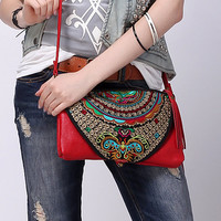 20% OFF - Red Boho Leather Purse