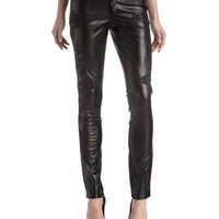Embroidered Faux-Leather Skinny Pants
