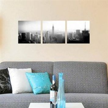 New York City Panoramic - 3 Piece Peel N Stick - College Dorm Room Accent NYC Wall Decor