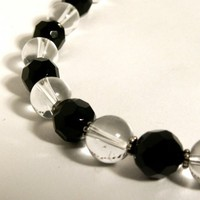 Black Onyx and Quartz Necklace | LasuzCreations - Jewelry on ArtFire