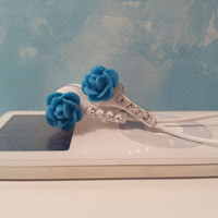 Very pretty  Peacock Blue Rose earbuds with Swarovski Crystals