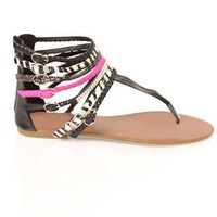 multi strap sandal with zebra print - 1000044445 - debshops.com