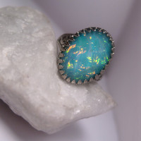 Fantasy Fairytale Underwater Ring - Turquoise With Rainbow Shimmer - Adjustable