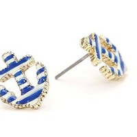 Betsey Johnson Striped Anchor Stud Earrings: Jewelry
