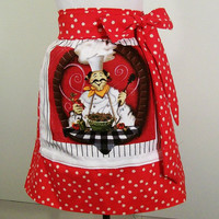 Apron--Women&#x27;s Towel Apron--Red Chef