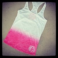 Monogram Racerback Tank  Burnout Ombre Font Shown INTERLOCKING