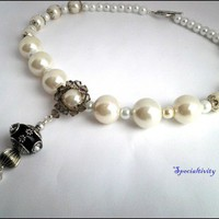 Trendy Large White Pearl, Tibetan Bead Chain Tassel Necklace, Earrings