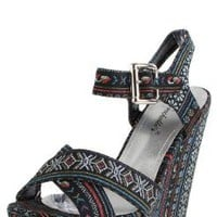 Leslie04 Tribal Stripe Ankle Strap Wedges BLACK: Shoes